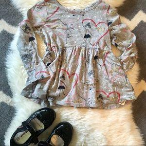 Toddler girl Swing Dress Artist Hearts Print 3T